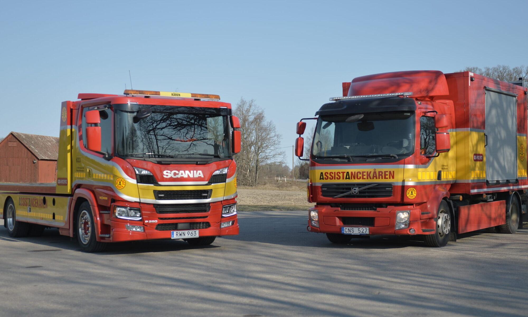 Scania P280 och Volvo FLL TMA på plattan